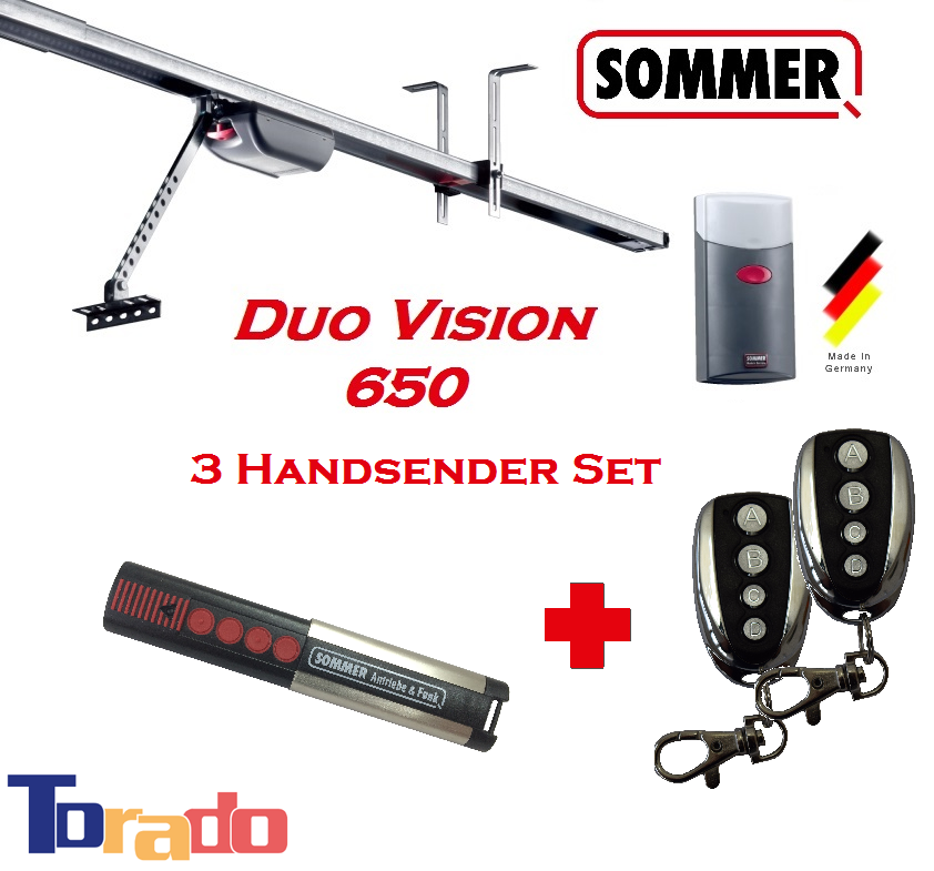 Sommer Garagentorantrieb Duo Vision 650 - 3 Handsender Set