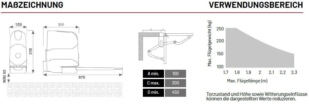 Masszeichnung-und-Verwendungsbereich-Marantec-KREP2224-Gelenkarm-Antrieb
